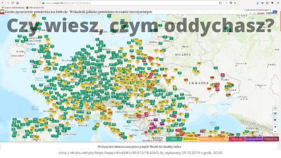 """na obrazku wyróżniającym znajduje się mapa zanieczyszczenia powietrza Europy na dzień 29 października 2019 o godzinie 20.50 oraz zdanie """"Czy wiesz, czym oddychasz?"""""""